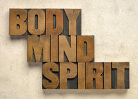 body, mind and spirit word abstract
