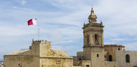 Cathedral and flag of Malta