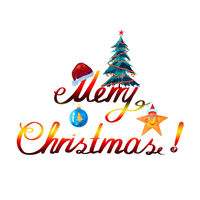 Merry Christmas watercolor background with red santa claus hat and fir tree.