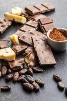 Milk chocolate bars. Dark and white nut chocolate