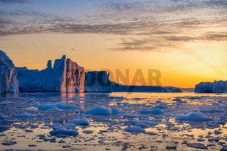 Greenland Ilulissat glaciers at ocean at polar night