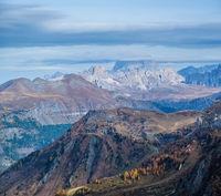 Autumn alpine Dolomites mountain scene near Pordoi Pass, Trentino , Italy.