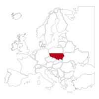 Detailed Poland silhouette with national flag on contour europe map on white