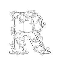 Letter R floral sketch