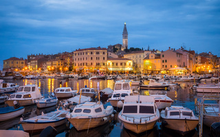 view of Rovinj in Croatia with boats at the port