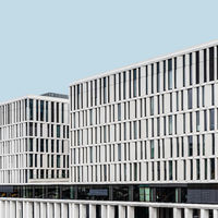 Modern office buildings in government district in Berlin Mitte against sk