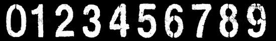 number 0-9 on black
