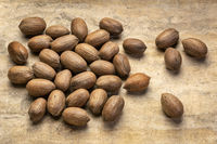 hard shell pecan nuts on textured paper