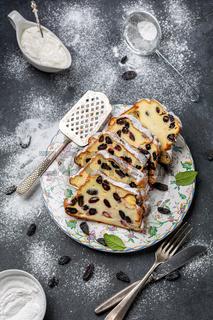 Sweet cottage cheese casserole with semolina and raisins.