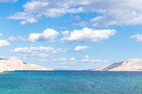 Rucica beach on dry rocky Pag island, Croatia
