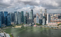 Aerial skyline of downtown skyscrapers in Singapore