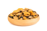 Fresh raw small mussel meat on white