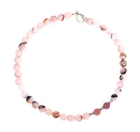 necklace from rose quartz beads isolated