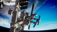 8K Earth and outer space station iss