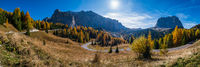 Autumn alpine Dolomites mountain scene