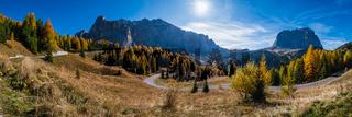 Autumn alpine Dolomites mountain scene