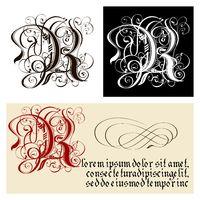 Decorative Gothic Letter R. Uncial Fraktur calligraphy.