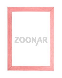 Modern pink picture frame on white