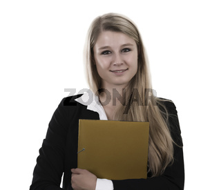 Junge Businessfrau mit Dokumentenmappe