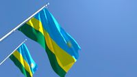 3D rendering of the national flag of Rwanda waving in the wind