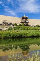 Gansu Dunhuang Crescent Lake and Mingsha Mountain.,China.