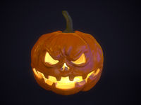 Halloween pumpkin over dark background. 3d rendered image