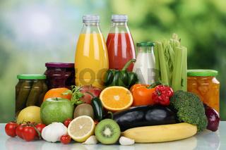 Früchte, Gemüse, Obst und Saft Getränk