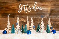 Christmas Tree, Snow, Blue Star, Ball, Gutschein Meanas Voucher, Wood