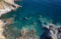 Aerial view of mediterranean sea coast near village Bali with transparent water. Crete, Greece