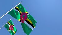 3D rendering of the national flag of Dominica waving in the wind
