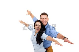 happy couple smile