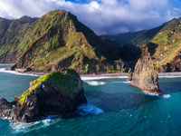 Aerial drone view of Janela Islets in Porto Moniz in Madeira