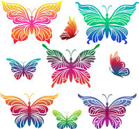 Butterflies Colorful Pictograms