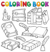 Coloring book old books theme set 1