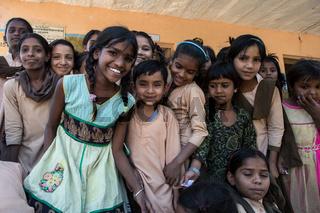 Elementary school students in the classroom in Balara Village of Jodhpur city,India