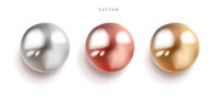Set of pearl silver, pink and gold spheres with glares icons isolated on white background, vector illustration.