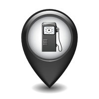 Black Glossy Style Map Pointer With Gasoline station icon.