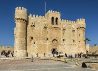 The Citadel of Qaitbay is a 15th-century defensive fortress established in 1477 AD