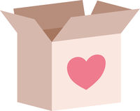 Donation Box With Heart Icon Vector