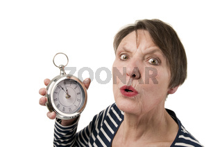 Surprised look with clock