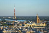 Panoramic landscape to Riga Radio and TV Tower, Latvia.