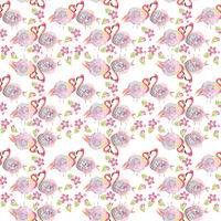 digital watercolor painting of seamless pattern with roses and flamingo birds.