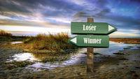 Street Sign to Winner versus Loser