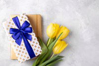 Yellow tulips notepad and gift box