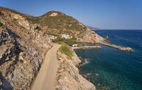 Aerial view on mountain road to cretan village Almirida and Mediterannean sea. Crete, Greece.