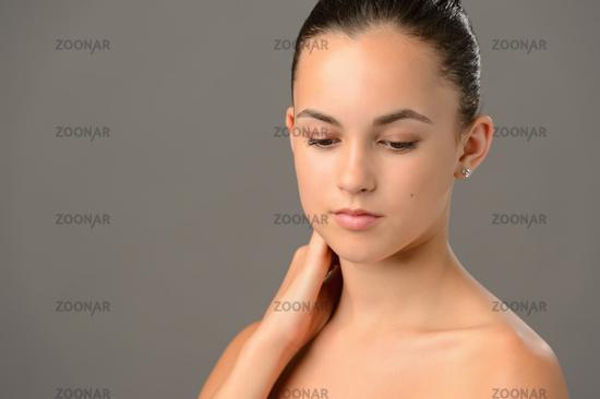 Beauty portrait teenage girl soft skin care