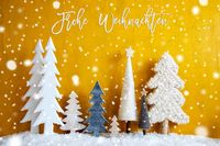 Trees, Snowflakes, Yellow Background, Frohe Weihnachten Means Merry Christmas