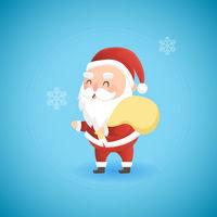 Festive Christmas funny Santa Claus holding big bag with presents, vector illustration.