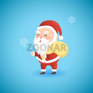 Festive Christmas funny Santa Claus holding big bag with presents, vector illustration.