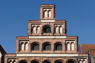 Lüneburg - Historischer Staffelgiebel in der Altstadt, Deutschland
